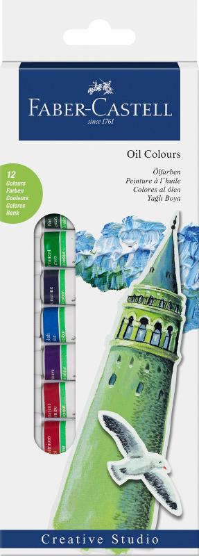 Oljefärgset Faber-Castell 12 sorterade färger 14ml