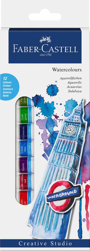 Akvarellfärgset Faber-Castell 12 sorterade färger 12ml