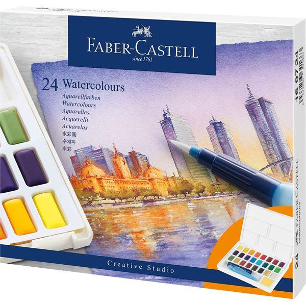Akvarellset Faber-Castell 24 sorterade färger helkopp + vattenpensel