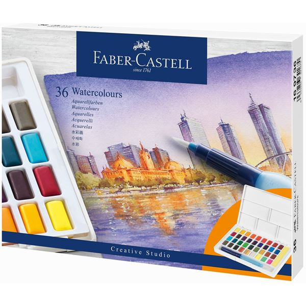 Akvarellset Faber-Castell 36 sorterade färger helkopp + vattenpensel