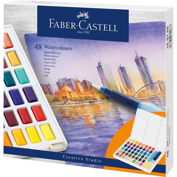 Akvarellset Faber-Castell 48 sorterade färger helkopp + vattenpensel