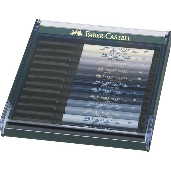 Ritpenna Faber-Castell PITT Artist x 12pennor Greys. Plastetui med lock