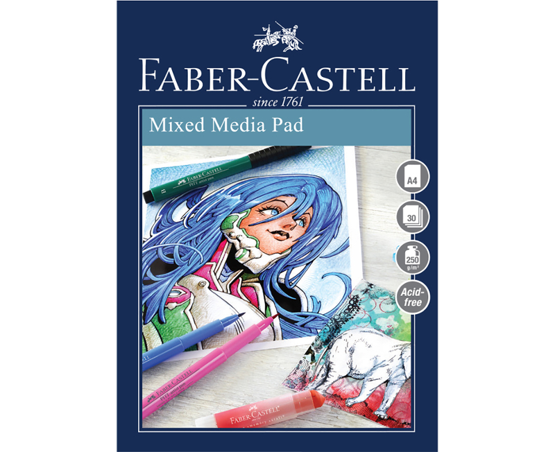 Ritblock Faber-Castell A4 Mixed Media Pad 250gr 30 ark Spiral (5F)