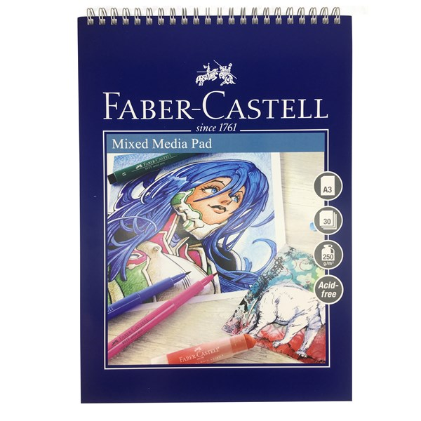 Ritblock Faber-Castell A3 Mixed Media Pad 250gr 30 ark Spiral (5F)