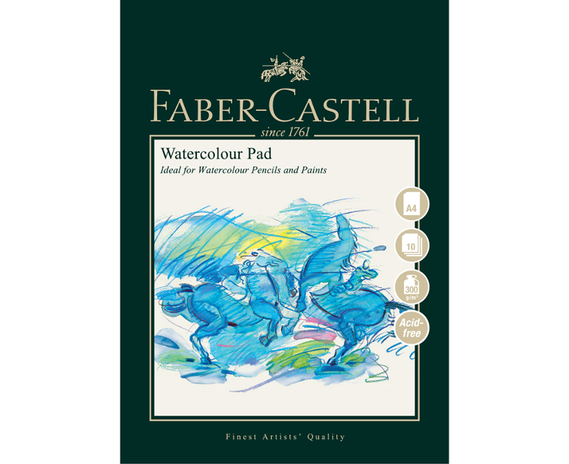 Akvarellblock Faber-Castell A4 Watercolour Pad 300gr 10 ark Spiral (5F)