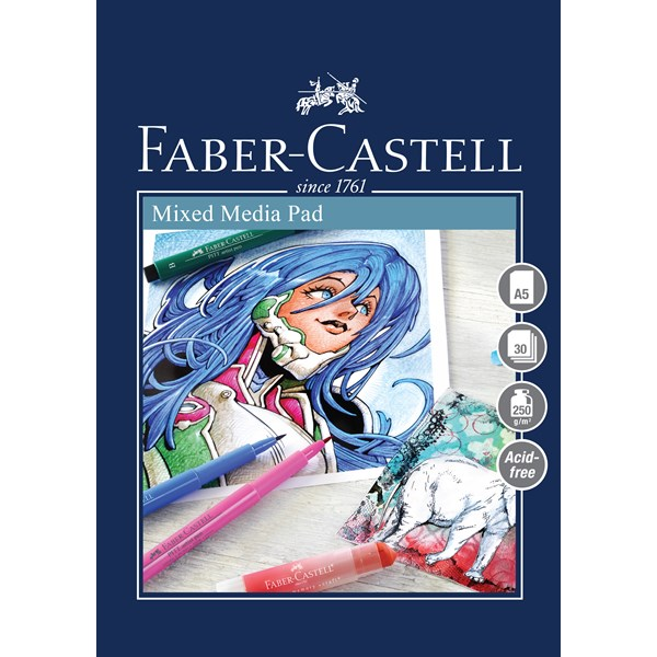 Ritblock Faber-Castell A5 Mixed Media Pad 250gr 30 ark Spiral (5F)