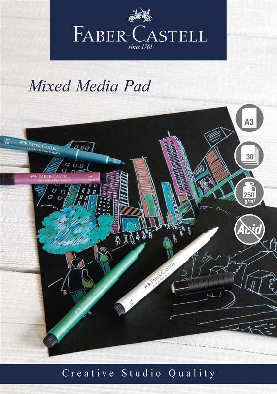 Mixed mediablock Faber-Castell A3 250gr 30 ark svart papper Spiral (5F)