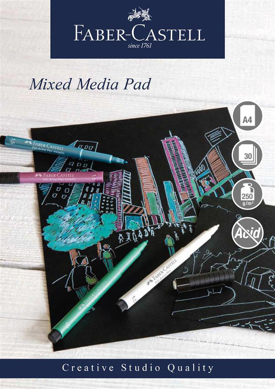 Mixed mediablock Faber-Castell A4 250gr 30 ark svart papper Spiral (5F)