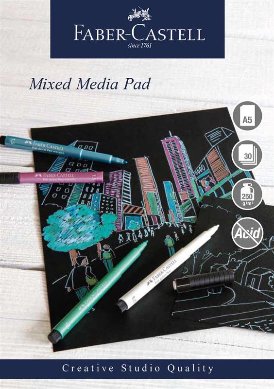 Mixed mediablock Faber-Castell A5 250gr 30 ark svart papper Spiral (5F)
