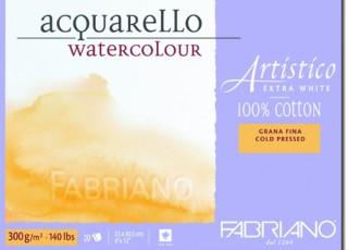 Akvarellblock Fabriano Artistico E-White 300 g GF 12,5x18 25ark(6F) Utgår