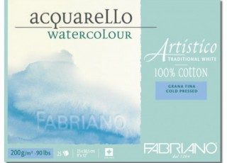 Akvarellblock Fabriano Artistico 200 g GF 12,5x18 30ark (6F) Utgår