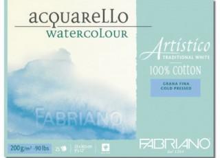 Akvarellblock Fabriano Artistico 200 g GF 23x30,5 25ark (6F) Utgår
