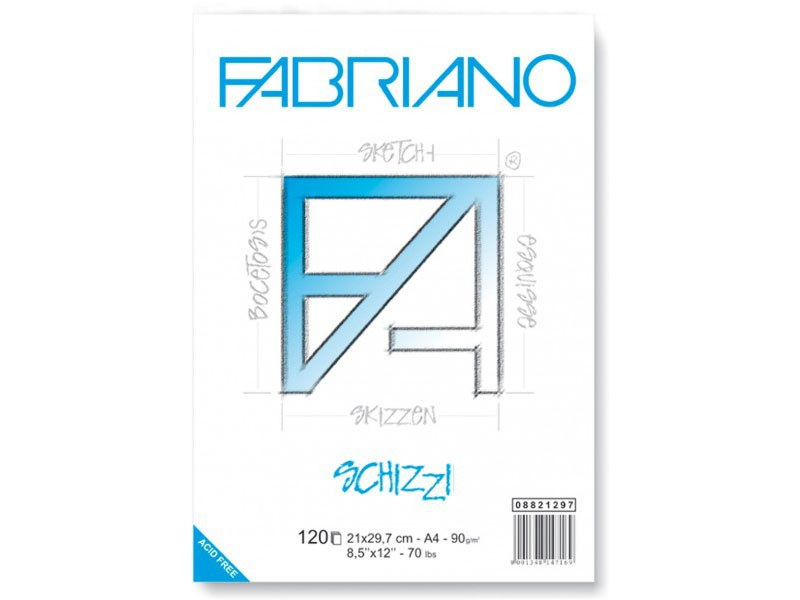 Skissblock Fabriano Schizzi 90g Spiral 60ark A2 (5F)