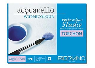 Akvarellblock Fabriano W/C Studio Torchon 300g 20ark 23x30,5cm (6F) Utgår