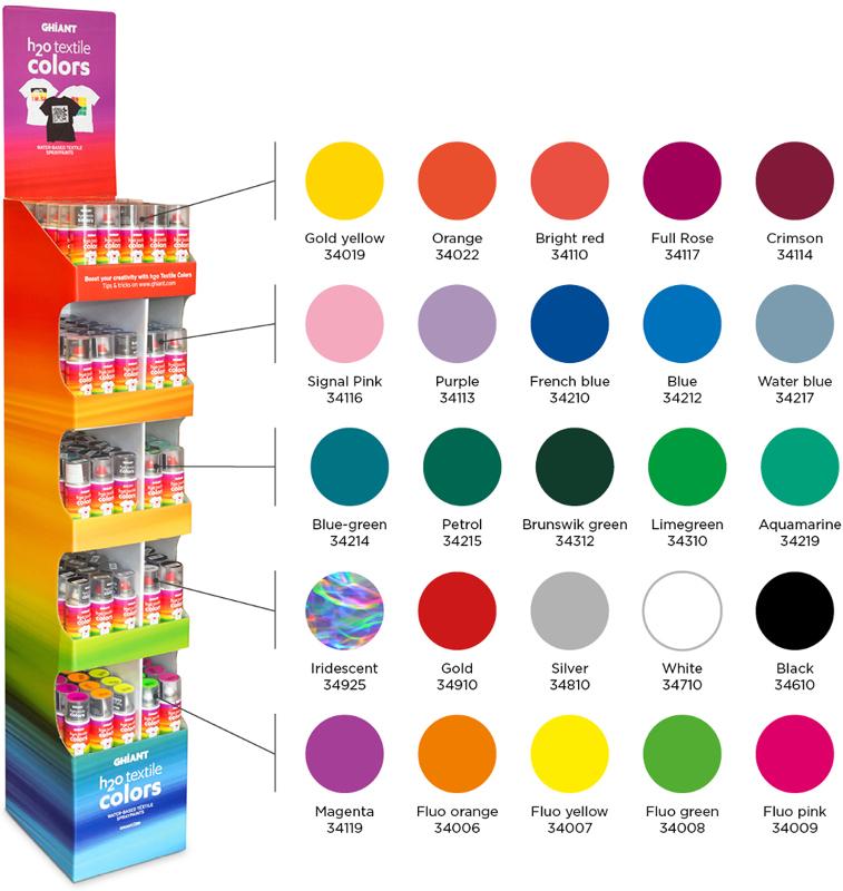 Sprayfärg Ghiant H2O Textilspray  sortiment 3x25kulörer