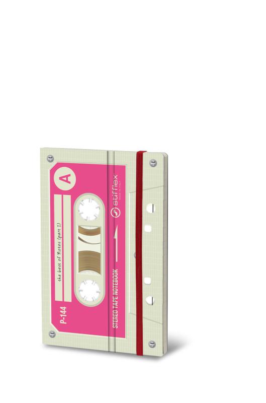 Notebook Musicassette vit/rosa (6F)
