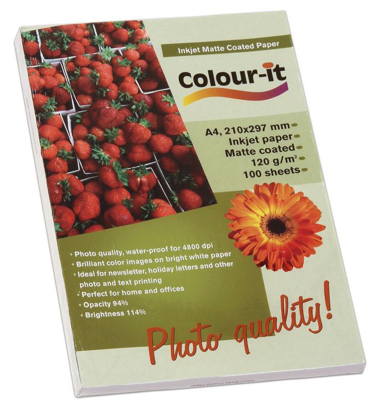 Inkjet/Laserpapper *Colour-it Inkjet Matt Coated papper, A4, 120 gr