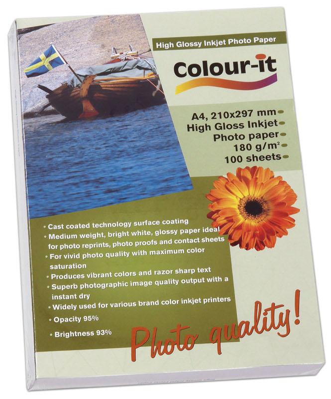 Inkjet/Laserpapper *Colour-it High Glossy Inkjet papper, A4, 180 gr