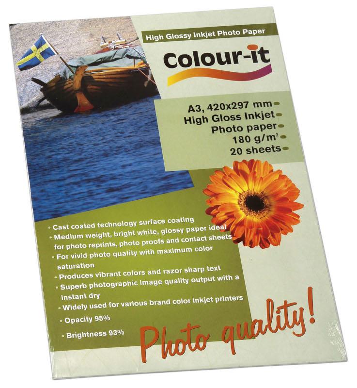 Inkjet/Laserpapper *Colour-it High Glossy Inkjet papper A3, 180 gr