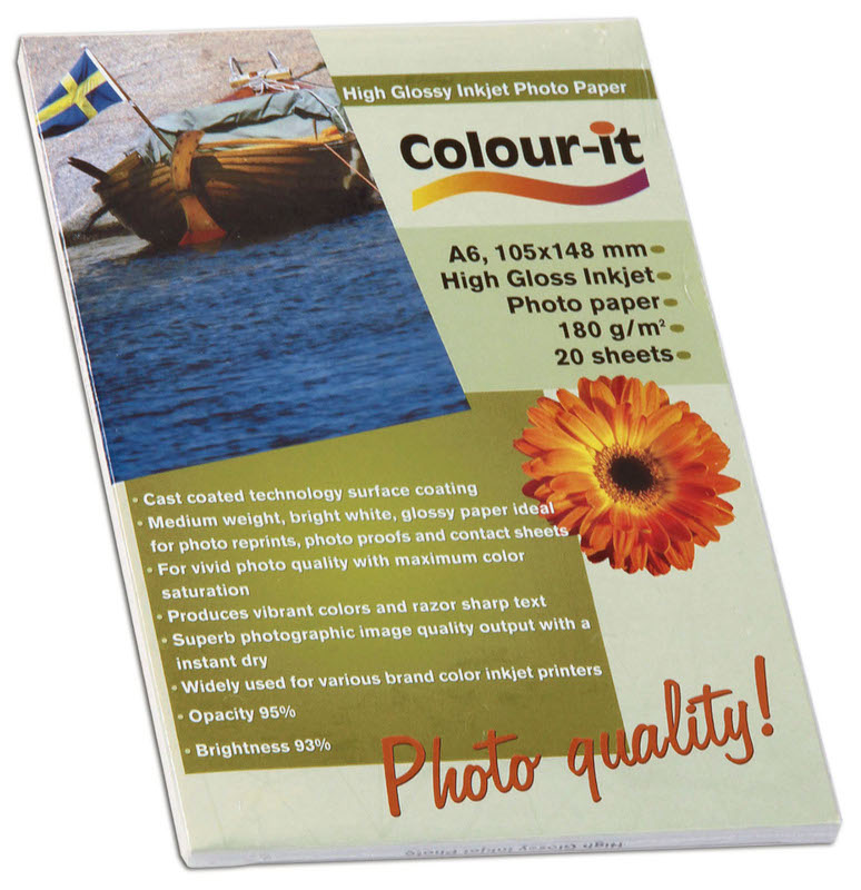 Inkjet/Laserpapper *Colour-it High Glossy Inkjet papper A6, 180 gr