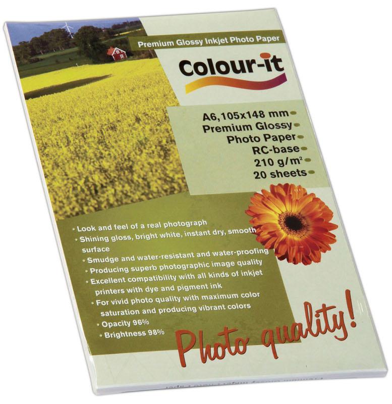 Inkjet/Laserpapper *Colour-it Premium Glossy Inkjet papper A6, 210 gr