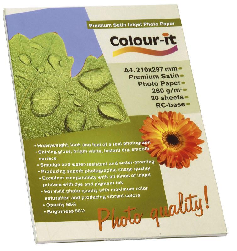 Inkjet/Laserpapper *Colour-it Premium Satin Inkjet papper A4, 260 gr