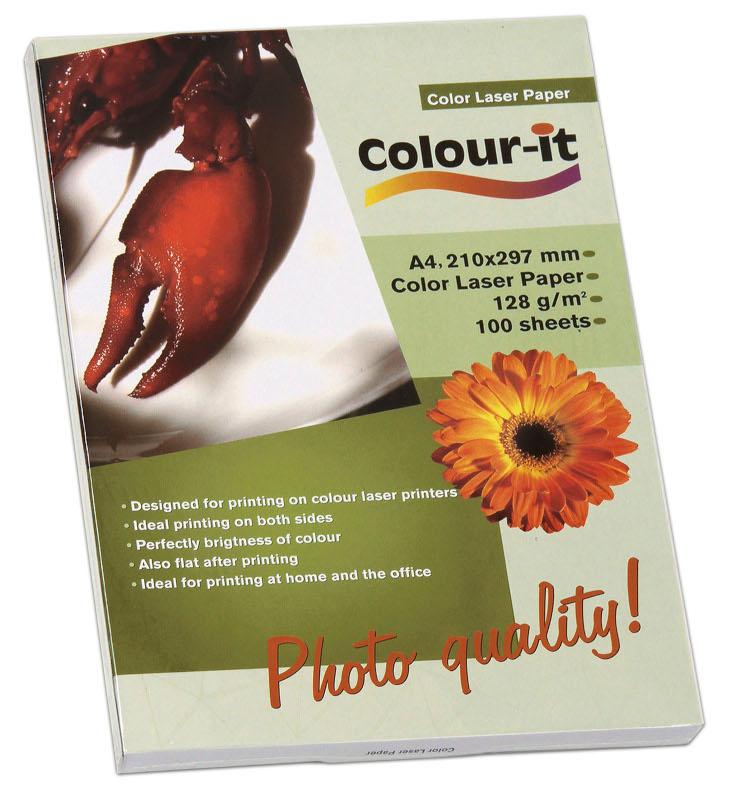 Inkjet/Laserpapper *Colour-it Color Laser papper, A4, 128 gr, 100/frp