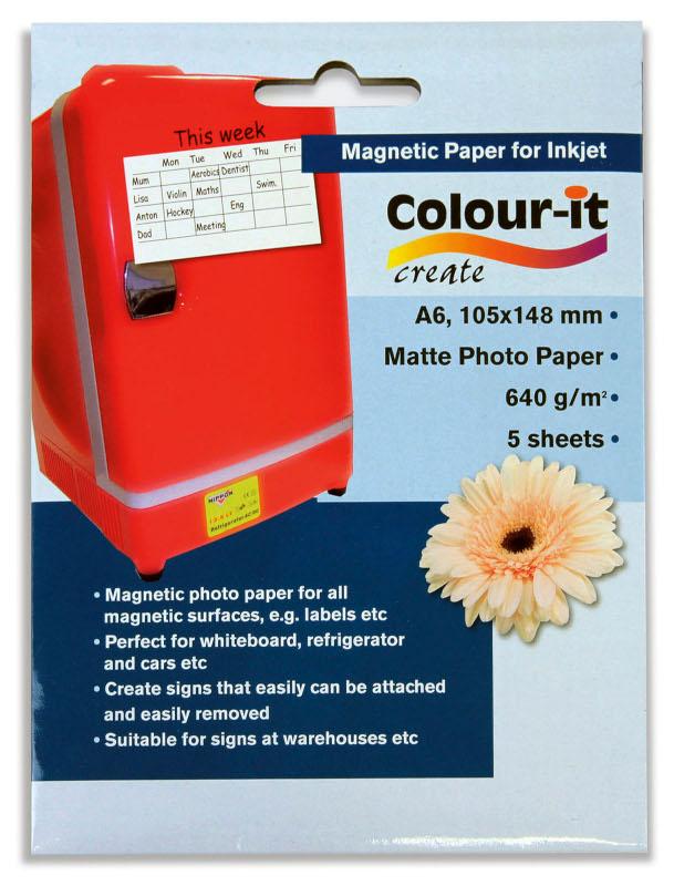 Inkjet/Laserpapper *Colour-it Magnetiskt Inkjet papper A6, 640 gr