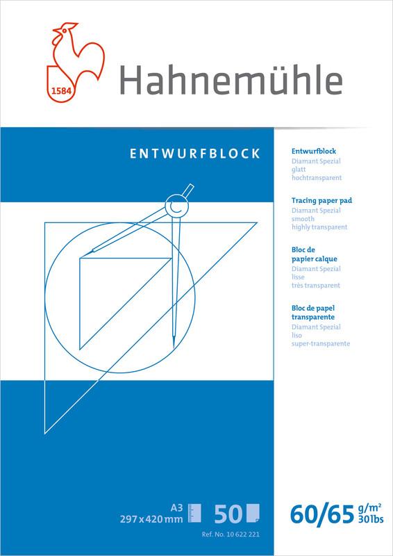 Tracingblock Hahnemühle Diamant Smooth 60/65g A3 50ark