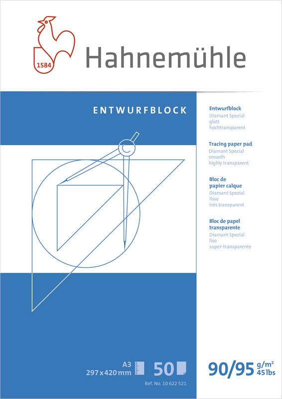 Tracingblock Hahnemühle Diamant Smooth 90/95g A4 50ark