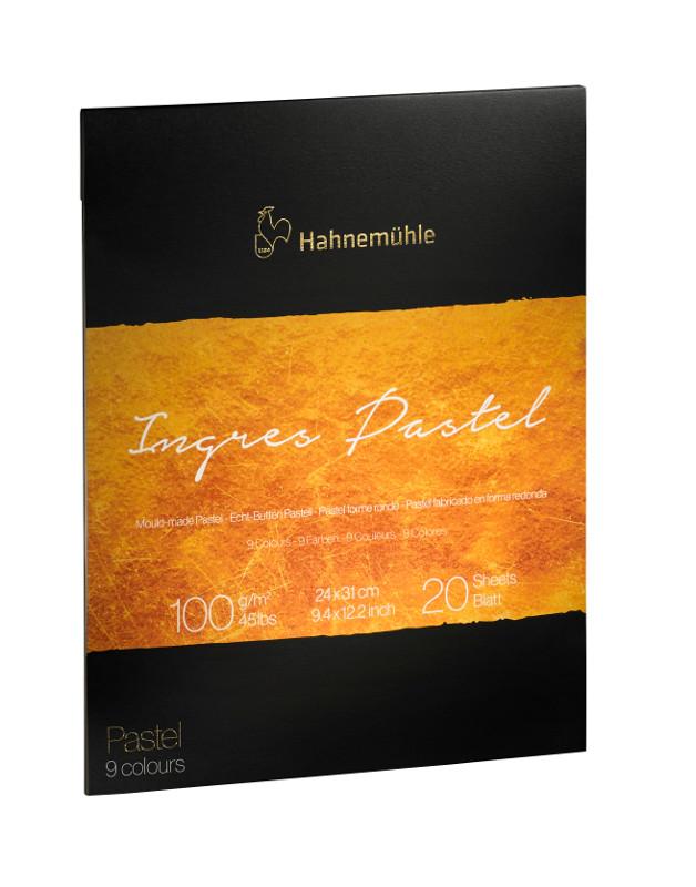 Pastellblock Hahnemühle Ingres 100 30x40cm 9 sort färger 20ark