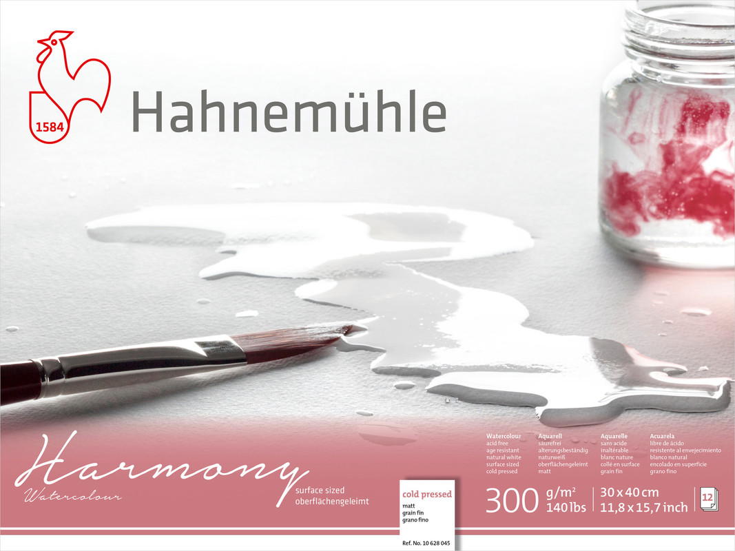 Akvarellblock Hahnemühle Harmony 300g Cold Pressed 30x40cm 12ark