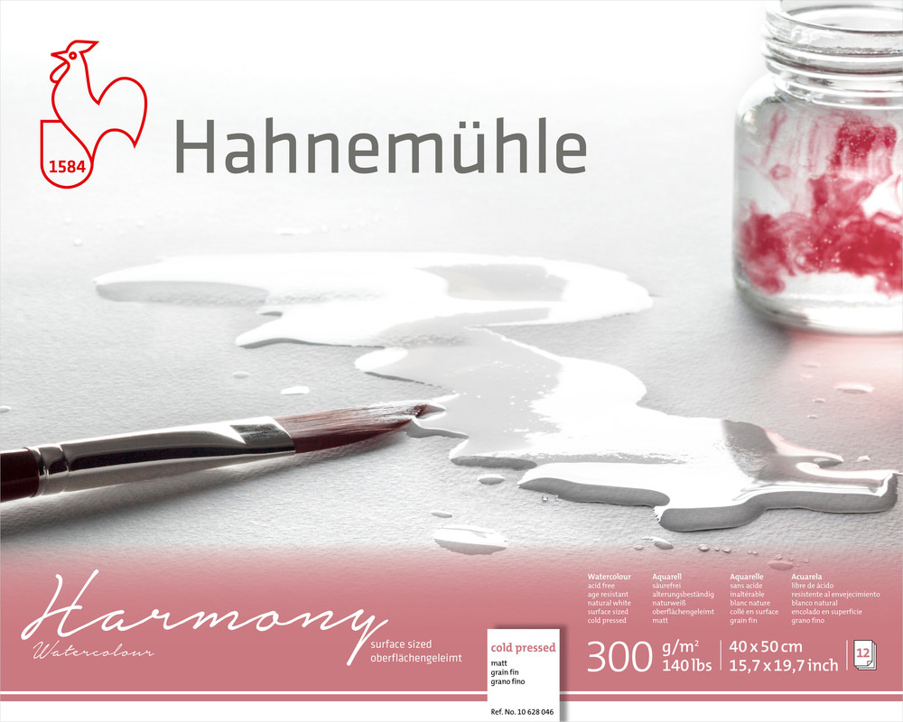 Akvarellblock Hahnemühle Harmony 300g Cold Pressed 40x50cm 12ark