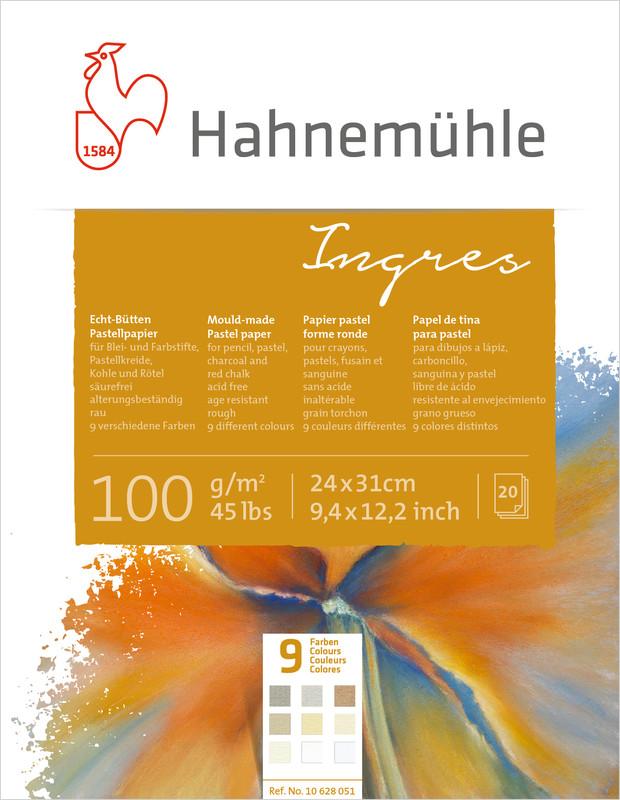 Pastellblock Hahnemühle Ingres 100g 24x31cm 20ark 9 olika färger