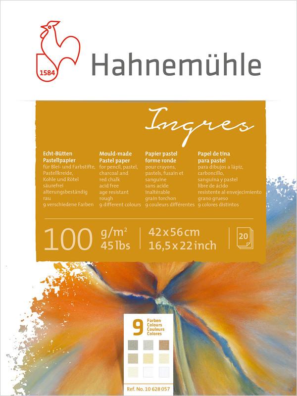 Pastellblock Hahnemühle Ingres 100g 42x56cm 20ark 9 olika färger