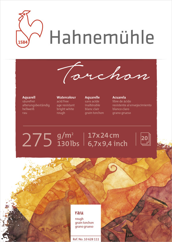 Akvarellblock Hahnemühle Torchon 275g 17x24cm 20ark