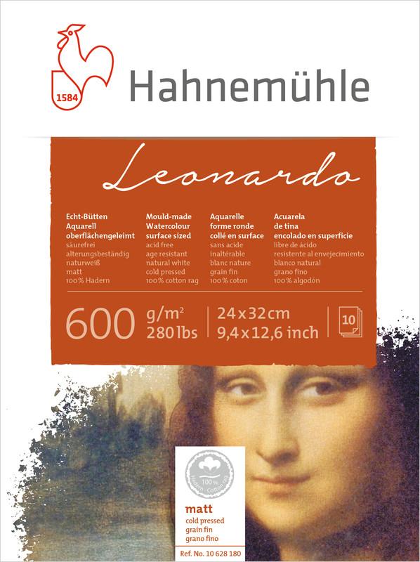 Akvarellblock Hahnemühle Leonardo 600g Cold Pressed 24x32cm 10ark