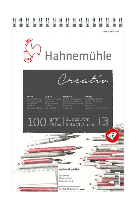 Skissblock Hahnemühle Sketch Creativ 100g spiral A4 100ark