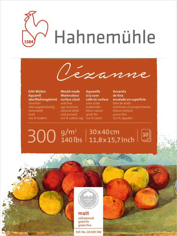 Akvarellblock Hahnemühle Cézanne 300g Cold Pressed 30x40cm 10ark