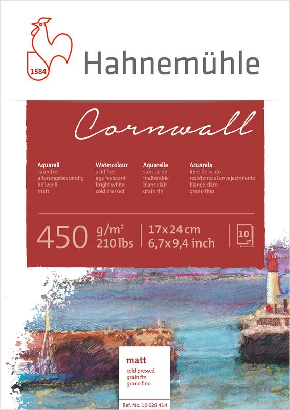 Akvarellblock Hahnemühle Cornwall 450g Cold Pressed 17x24cm 10ark