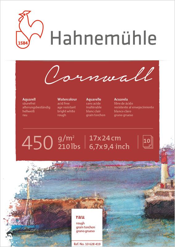 Akvarellblock Hahnemühle Cornwall 450g Rough 17x24cm 10ark