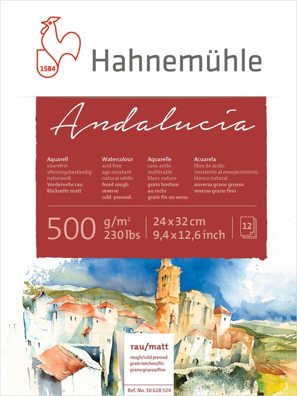 Akvarellblock Hahnemühle Andalucía 500g Rough/Cold Pressed 24x32cm 12ark
