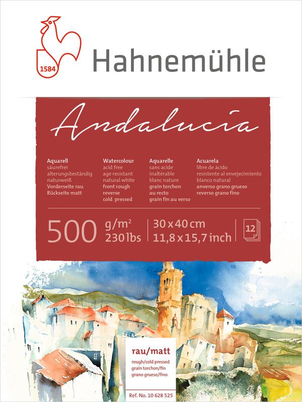 Akvarellblock Hahnemühle Andalucía 500g Rough/Cold Pressed 30x40cm 12ark