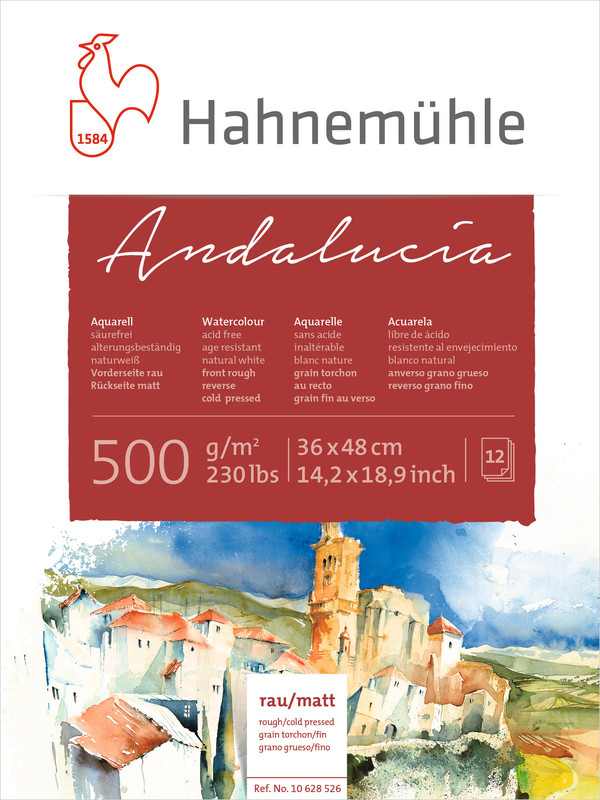 Akvarellblock Hahnemühle Andalucía 500g Rough/Cold Pressed 36x48cm 12ark