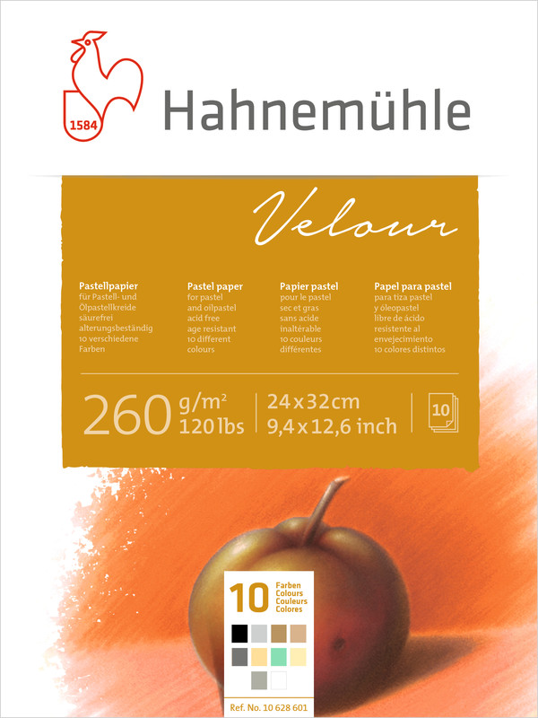 Pastellblock Hahnemühle Velour Färgade 260g 24x32cm 10ark