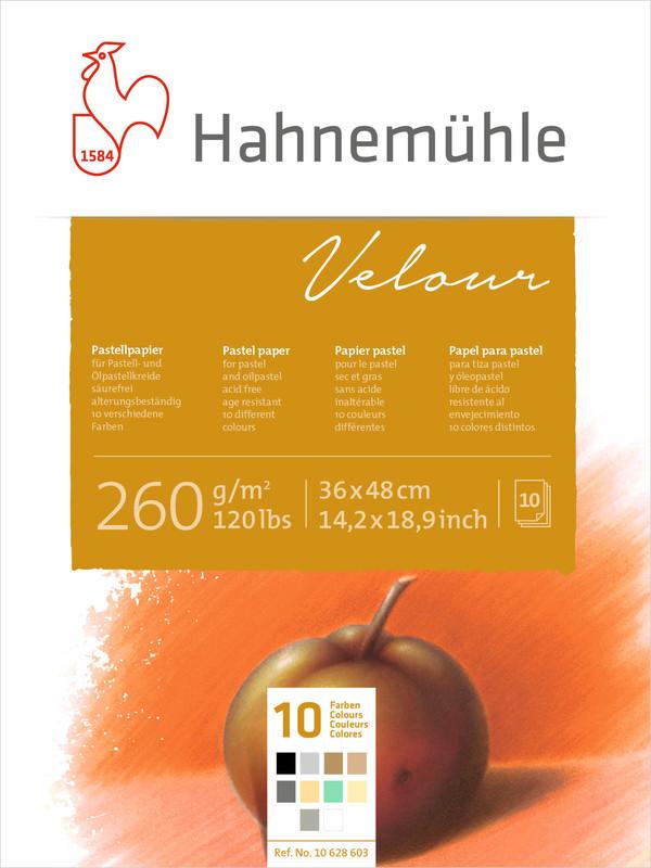 Pastellblock Hahnemühle Velour Färgade 260g 36x48cm 10ark