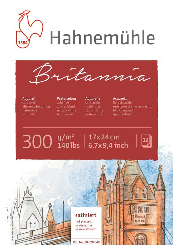 Akvarellblock Hahnemühle Britannia 300g Hot Pressed HP 17x24cm 12ark (5F)