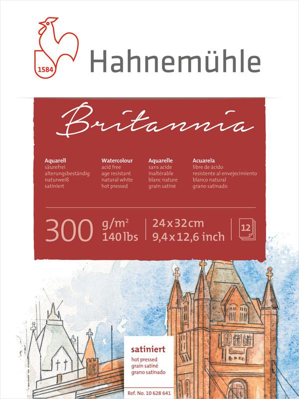 Akvarellblock Hahnemühle Britannia 300g Hot Pressed HP 24x32cm 12ark (5F)