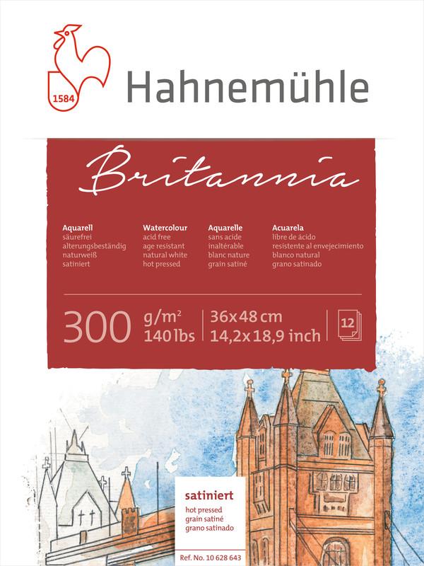 Akvarellblock Hahnemühle Britannia 300g Hot Pressed HP 36x48cm 12ark (5F)