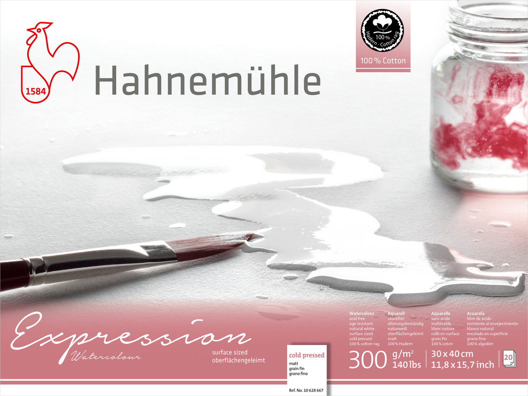 Akvarellblock Hahnemühle Expression 300g Cold Pressed 30x40cm 20ark